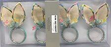 x4 Kim Seybert Easter Napkin Ring Holder Bunny Ears Butterfly Jute Designer NEW