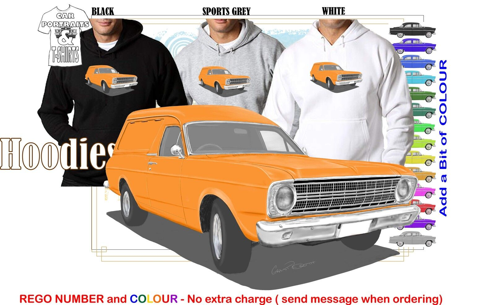 66-68 XR FALCON VAN HOODIE ILLUSTRATED CLASSIC RETRO MUSCLE SPORTS CAR