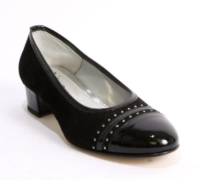 merce di alta qualità e servizio conveniente e onesto Gaja 5761 nero Suede     Patent Leather Rounded-Toe Block Heel Pump 37.5   US 7.5  acquista marca
