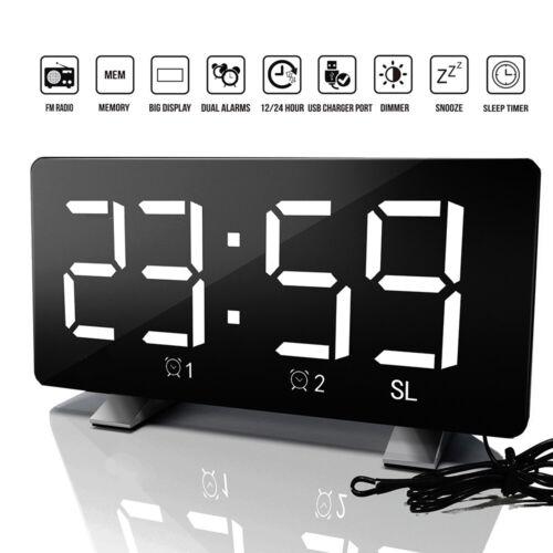 LED Wecker Digital Alarmwecker Funk Uhr Kalender Schlummerfunktion USB Tischuhr