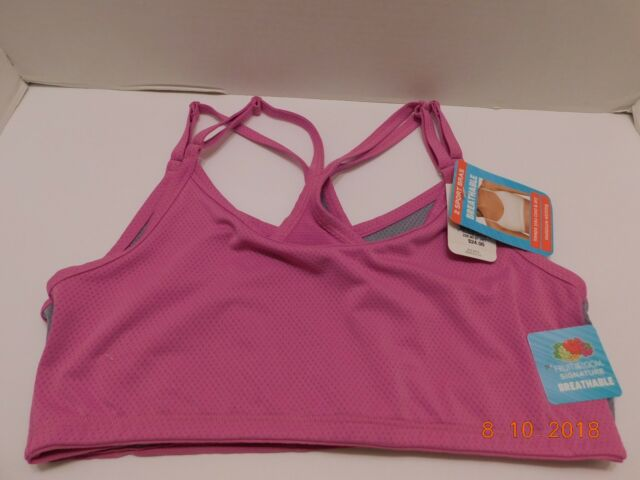 828c4caf15f13 Fruit of the Loom Breathable Sport Bra Set of 2 Pink Gray Racerback Small  NWT