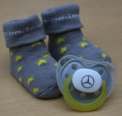 original Mercedes Benz Baby Set Nuckel Schnuller Sauger Stern + Socken Söckchen