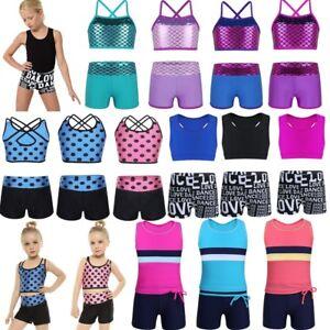 e9df113bcd98 Image is loading Girl-Kid-Dance-Outfit-Ballet-Gymnastics-Leotard-Crop-