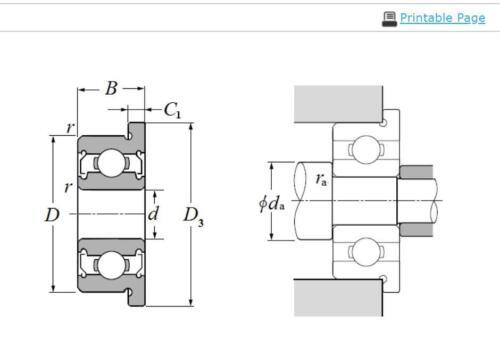 NTN FL695ZZ Single Row Radial Ball Bearing w// Flanged Outer Ring 5x13x4mm