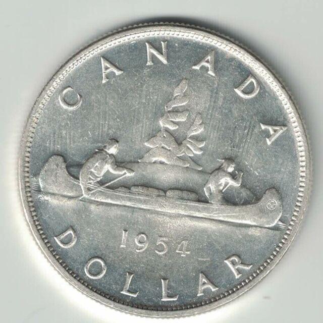 CANADA 1954 SWL VOYAGEUR SILVER DOLLAR QUEEN ELIZABETH II CANADIAN SILVER COIN