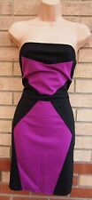 LOVE LABEL PURPLE BLACK BLOCK SLIMMING TUBE BANDAGE PARTY BODYCON DRESS 14 L