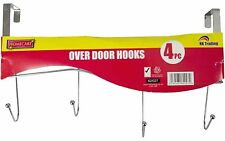 4 HOOK OVER THE DOOR CLOTHES COAT DRESS GARMENT HANGER HOOKS TOWEL RACK HOLDER