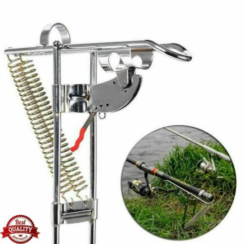 Spring Fishing Rod Holder Automatically Pulls Back Fish When Detected T4X1