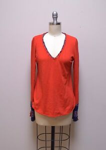 e8ba15194c5 Image is loading ANTHROPOLOGIE-LITTLE-YELLOW-BUTTON-Tomato-Red-Cotton-Knit-