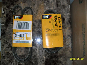 2P-4685 and 2P-7333 Non-Cogged V-Belts set. Genuine Caterpillar.