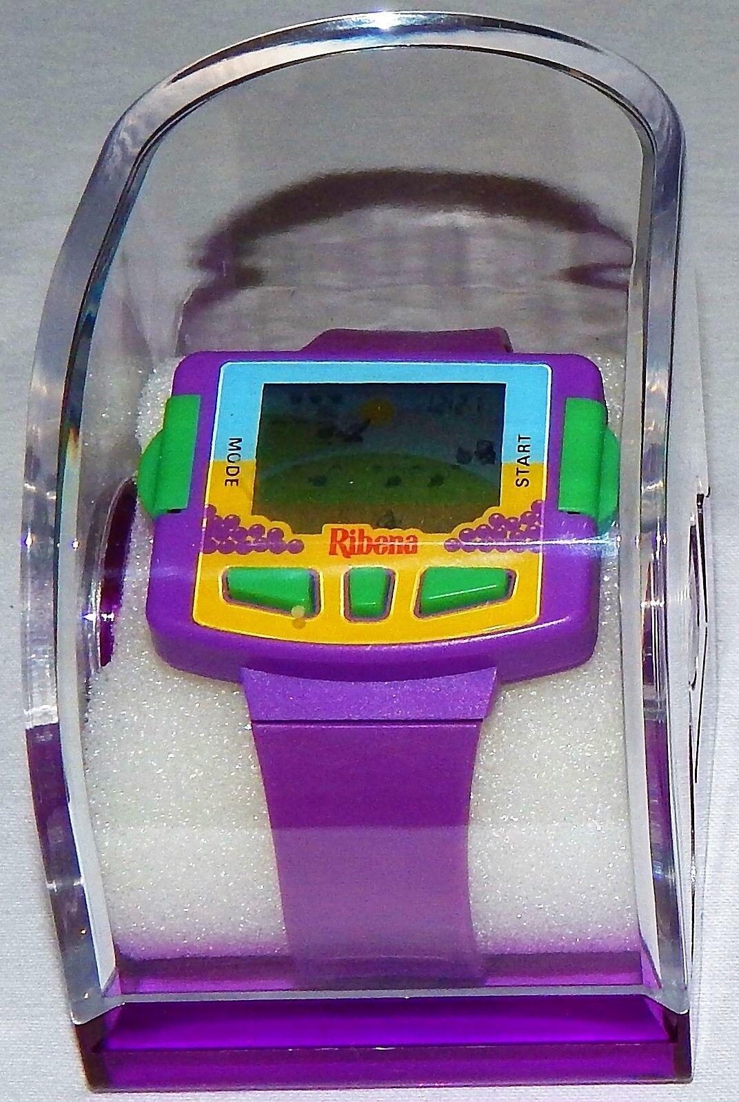 EXTREMELY RARE VINTAGE RIBENA LCD ELECTRONIC HANDHELD GAME & WRIST WATCH NOS