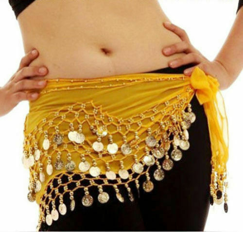 3 ROWS Belly dance costume belt skirt hip wrap outfit gold coin bead scarf  *bly