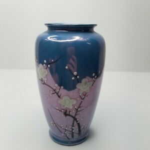 Vintage-Vase-Planter-Hand-Painted-Made-in-Japan-Blue-White-Flowers