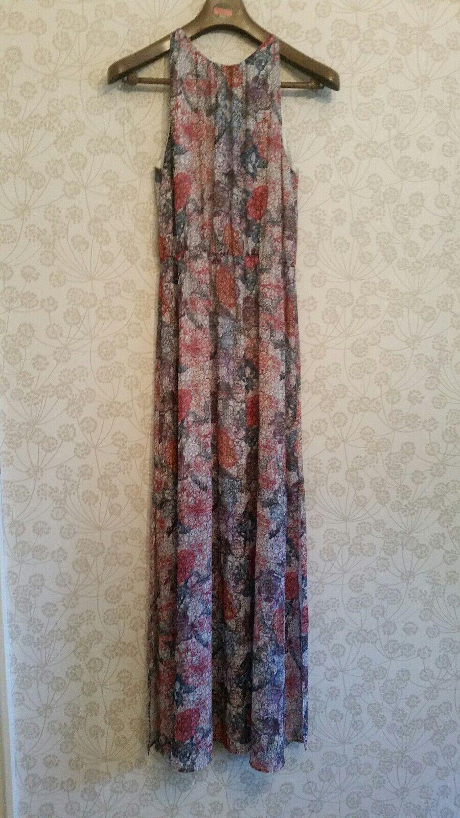 H & M floral summer Maxi dress split sides and cut out shoulders