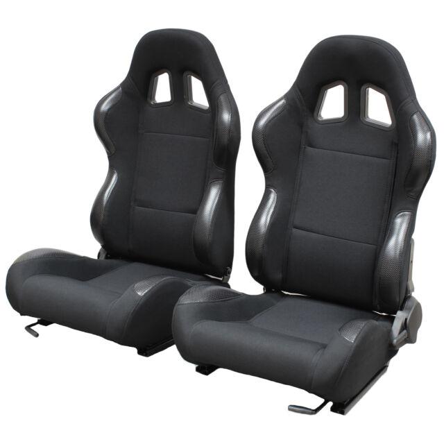 BLACK RECLINING BUCKET CAR SEATS FOR BMW 3 SERIES E30/E36/E46