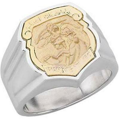 MRT Large 14KT Gold on Sterling Silver Mens St Michael Police Badge Ring Gift