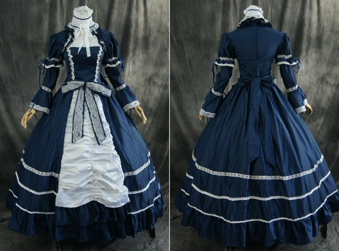 m-t101 bleu bleu bleu Bleu  satin victorien robe de cosplay costume déguiseHommes t N.mesure 59951f