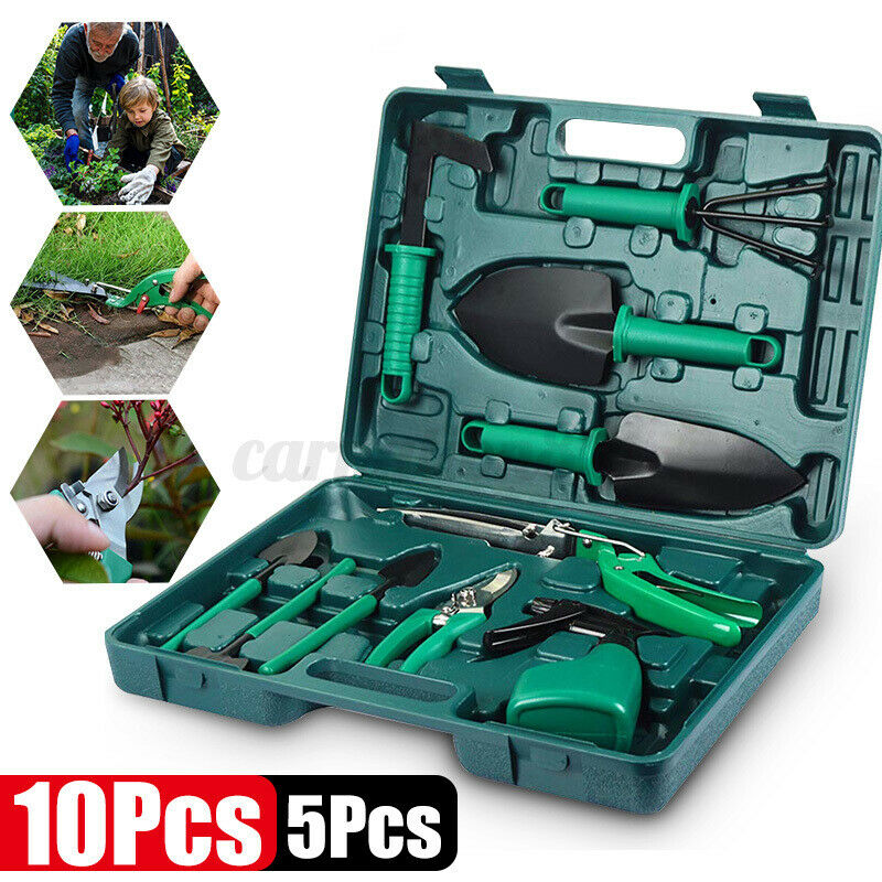 10PCs Garden Tools Set Stainless Steel Gardening Tools Kit with Trowel Pruner 8