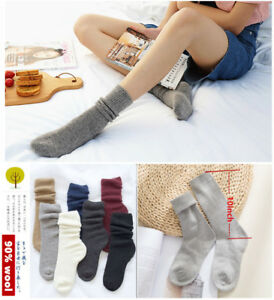 Lady-Women-90-Cashmere-Wool-Warm-Thick-Soft-Comfort-High-Solid-Boot-Socks-Winter