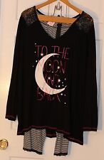 "Torrid Lace ""To the Moon and Back"" Sleep Top/Bottoms Size 3 Black Pajama Night"