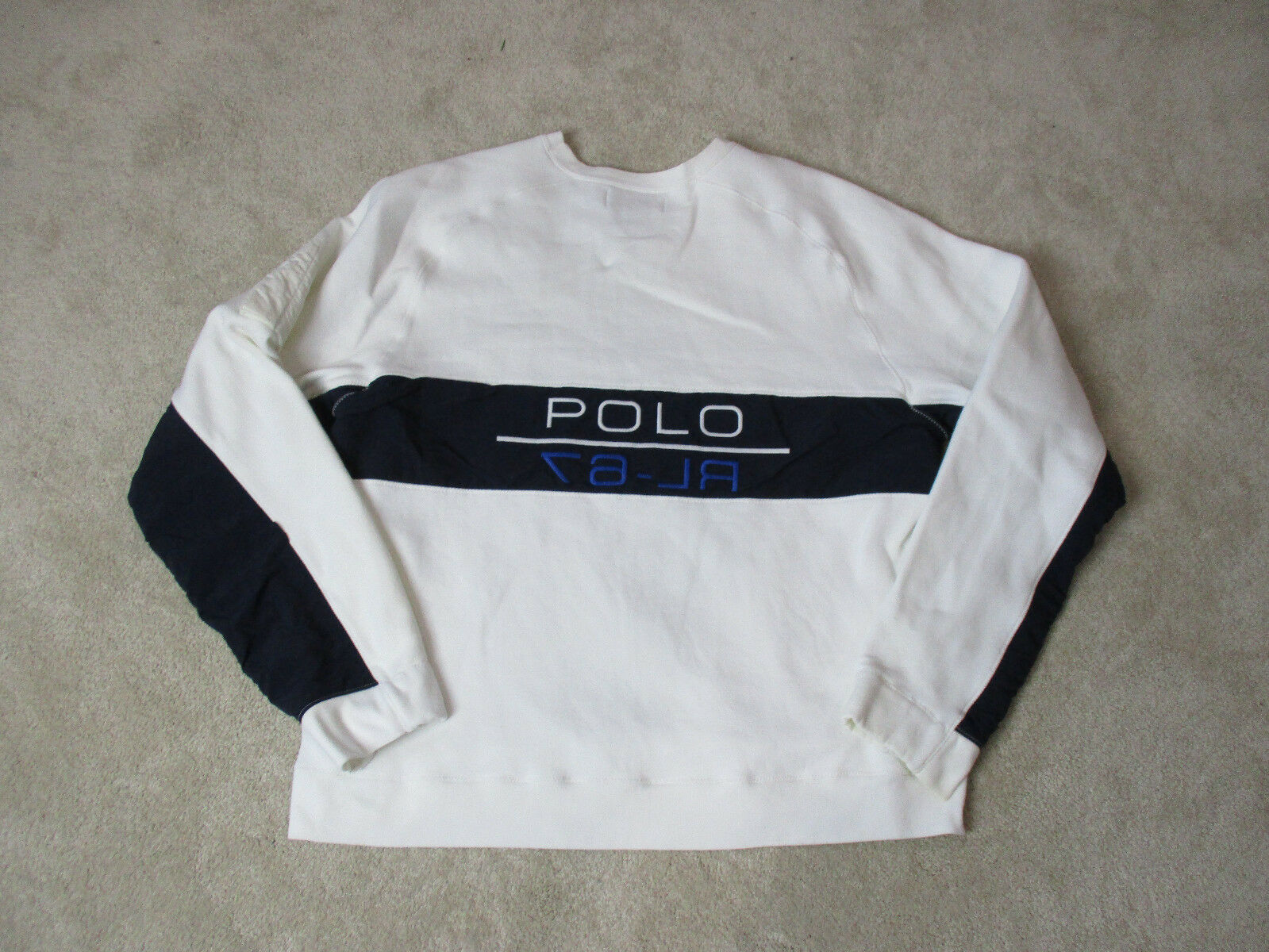 VINTAGE Ralph Lauren Polo Sport Sweater Adult Large Weiß Blau Spell Out 90s