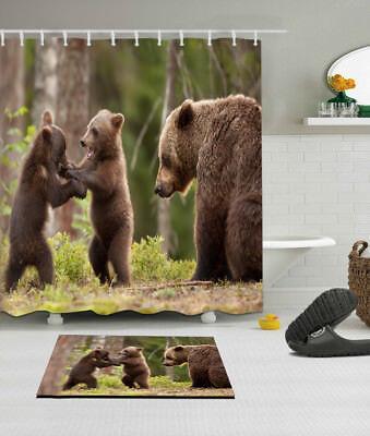 72x72/'/' Brown bear in the forest Bathroom Shower Curtain Waterproof 12 Hooks
