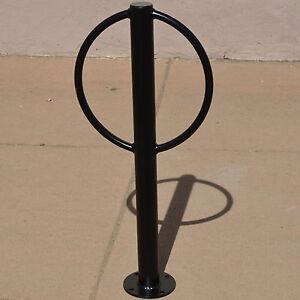 details about commercial 2 bike rack parking flange bollard outdoor post ring loop stand