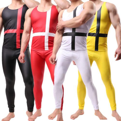 Homme Faux Cuir Costume Slim Top Gilet Crayon Pantalon polyuréthane leggingstank