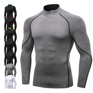 Men-039-s-UV-Sun-Protection-Long-Sleeve-Top-Shirts-Skins-Tee-Compression-Base-Layer