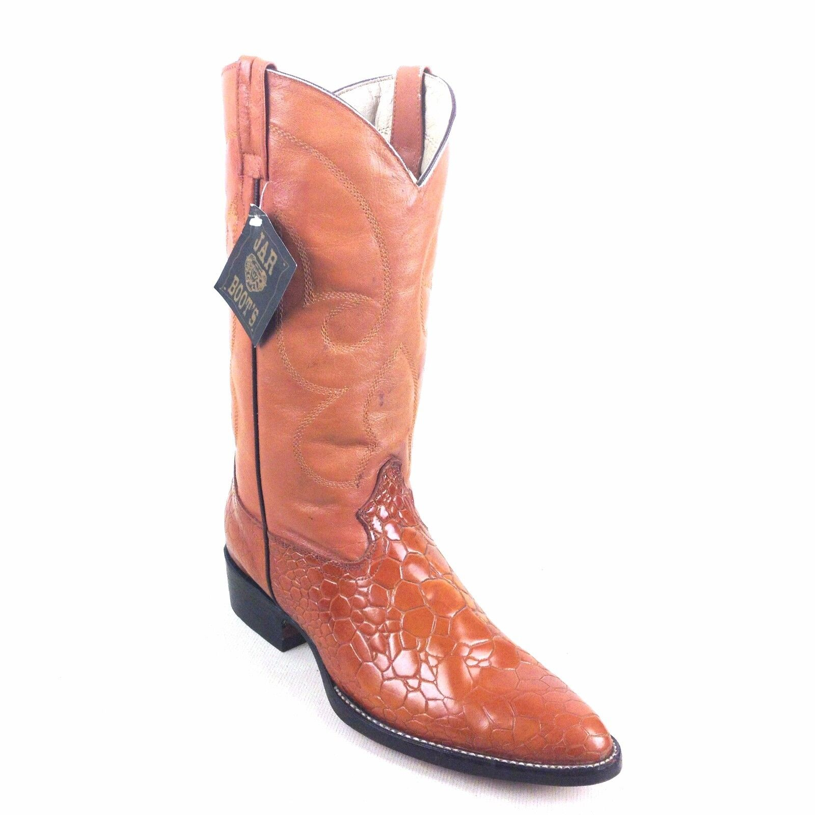 JAR COGNAC LEATHER PRINT WESTERN BOOTS SIZE  10