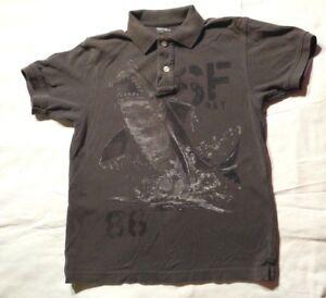 Gap Boys Gray Collared Polo Shirt Top Shark Design Cotton Blend Size Large 10