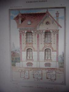 CHROMOLITHOGRAPHIE-1907-PETITS-HOTELS-PRIVES-MAISON-A-BERNY-ARCHITECTE-GRAVIER