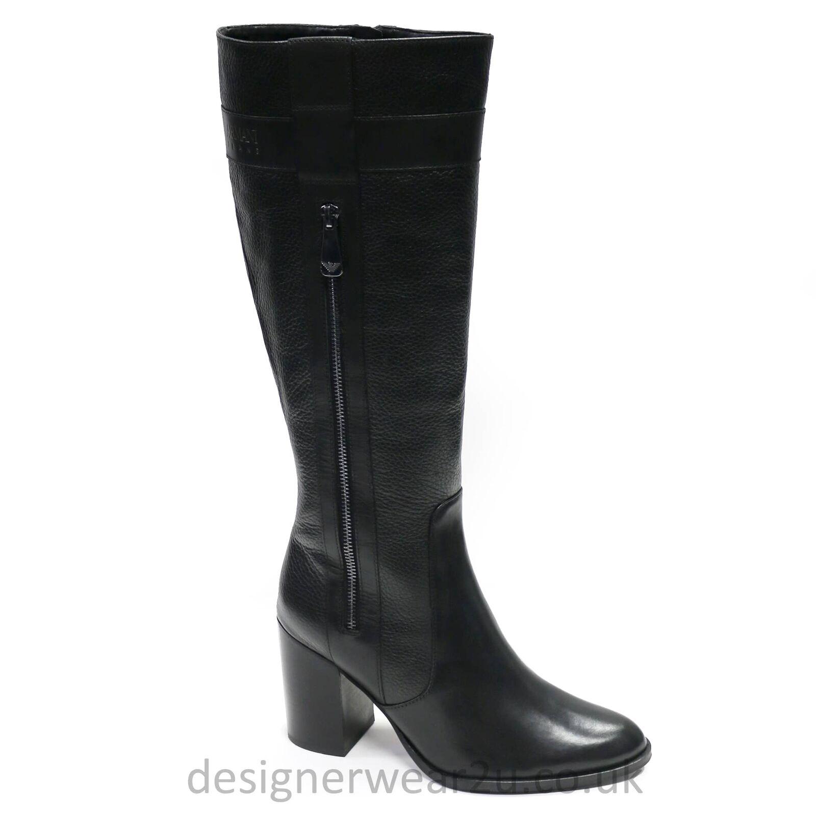Armani Jeans Ladies Heeled Heeled Heeled Leather Boots 707ba2