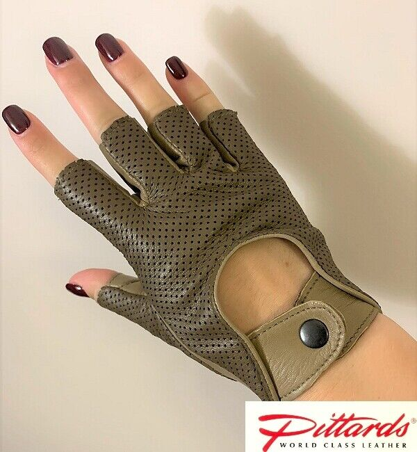 Impartial Brand New! Walnut Driving Finger-less Perforated Leather Gloves! Brand New! Available In Various Designs And Specifications For Your Selection