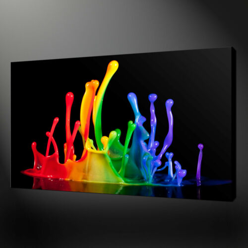 RAINBOW ABSTRACT PAINT SPLASH CANVAS PRINT PICTURE WALL ART FREE UK DELIVERY