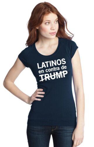 ANTI TRUMP LADIES T SHIRT LATINOS,SPANISH Medium NAVY