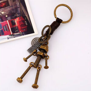 Travel-Memorial-Leather-Keychain-Pendant-Punk-Gift-Ready-Stock-Alloy-Screw-Robot