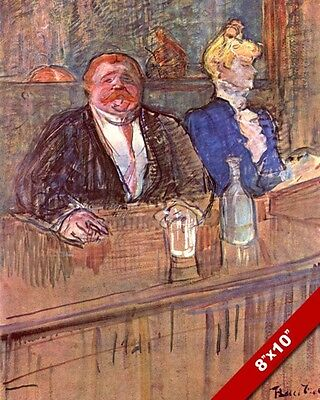 FAT MAN /& WOMAN IN FRENCH CAFE BAR FRANCE PAINTING ART REAL CANVAS PRINT