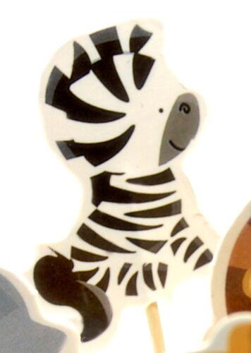 7 Zoo-Tiere-Cupcake-Topper//Muffinspieße//Tortenfigur//Zirkus//Geburtstag//Löwe//Zebra