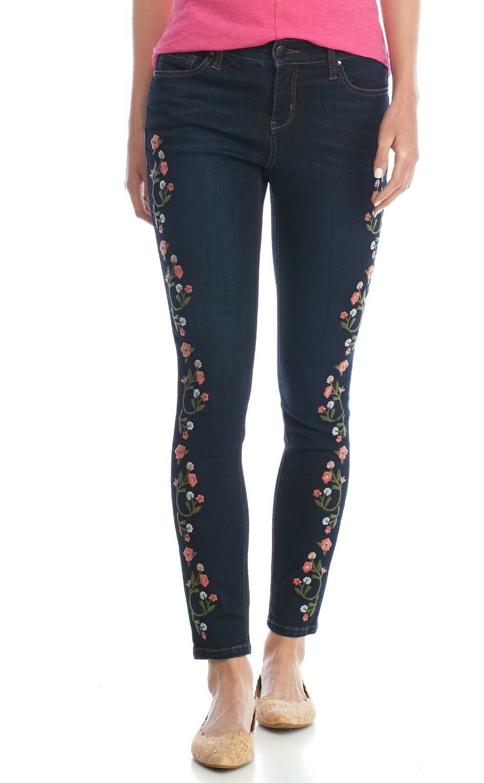 Crown & Ivy Dark Lagoon Wash Floral Embroidered Stretch Denim Skinny Jeans -  69