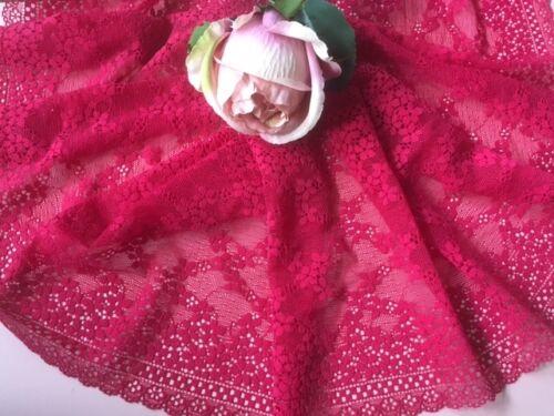 "Raspberry Red Floral Daisy Wide Stretch Lace Trim 7.5/""//18.5 cm laverslace"