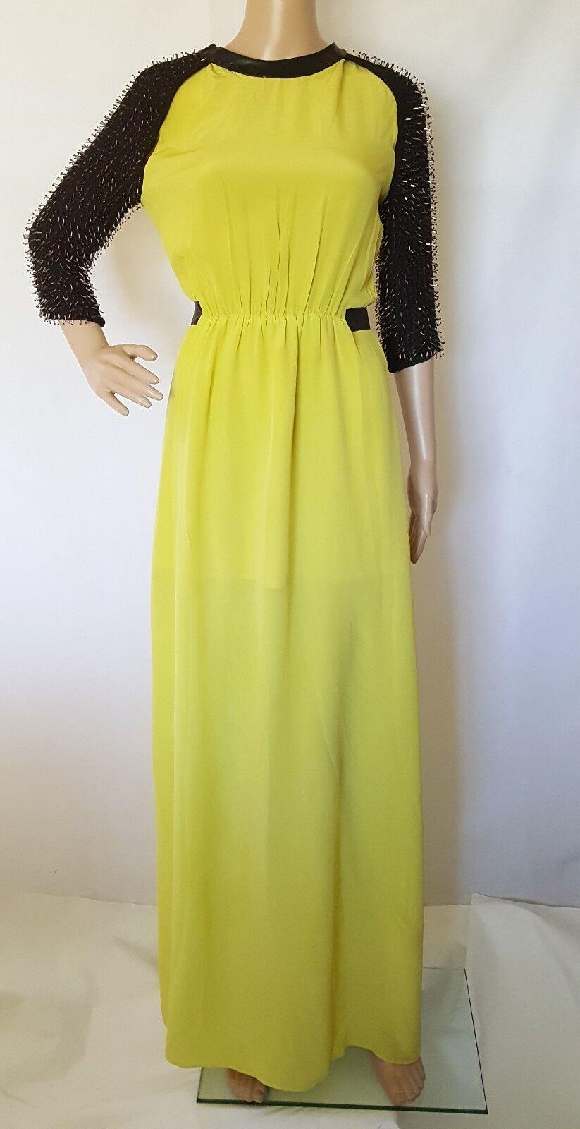 Italian Couture Beaded 100% Silk & Lambskin long Dress Größe S RARE gorgeous KeMu