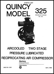 quincy model 325 air compressor parts manual ebay rh ebay com Quincy Air Compressors Parts List quincy 350 air compressor parts manual
