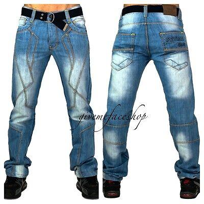 "Peviani Mistley g denim jeans, urban bar rock ""light star"" mens denim wash pants"