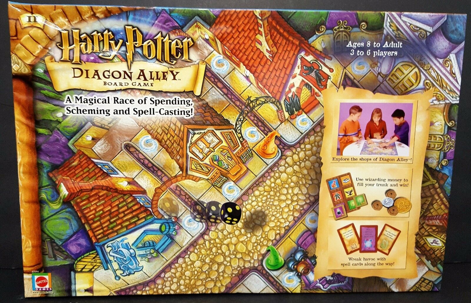 Harry Potter Diagon Alley Board Game 2001 Mattel Complete