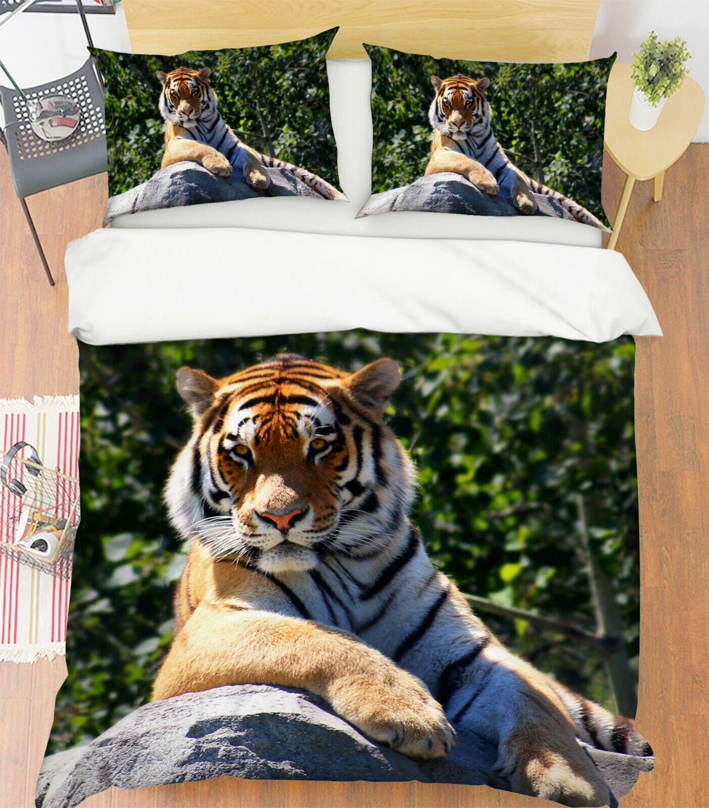 3D Tiger Forest I106 Animal Bed PilFaiblecases Quilt Duvet Cover Queen King Angelia
