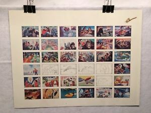 Sci-Fi-Science-Fiction-Comic-Art-Card-Panel-Signed-36-Cards-Small-Uncut-Sheet