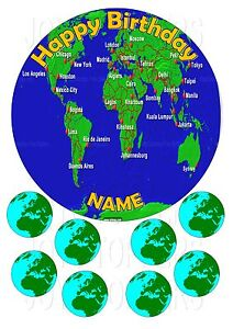 Map Of The World Cake Topper Round 7 5 8 Edible Iced