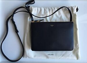 buying purses online - Celine Trio Small Black Leather Messenger Crossbody Bag Authentic ...