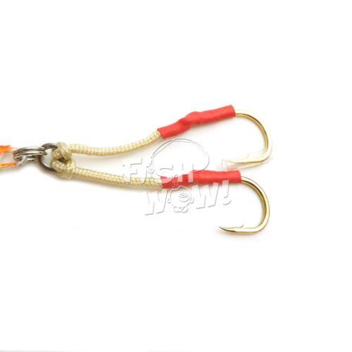 2pcs 150g 5.25oz Fishing Vortex Speed jig Assist Hook flutter butterfly Red Silv